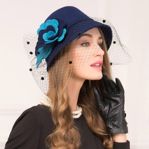 Ladies' Beautiful/Elegant Wool Bowler/Cloche Hats/Tea Party Hats With Tulle Flower