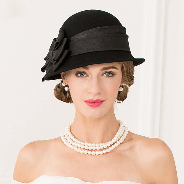 Ladies' Beautiful/Glamourous Wool Bowler/Cloche Hats With Bowknot