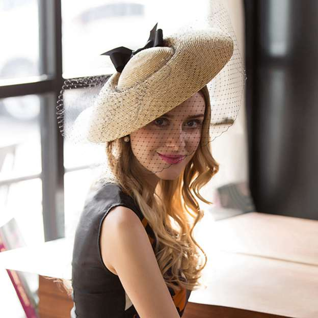 Ladies' Fancy/Nice Wheat Straw Straw Hats/Tea Party Hats With Tulle Bowknot