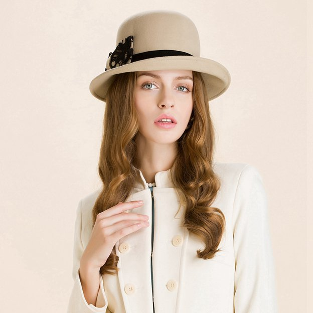 Ladies' Simple/Classic Wool Bowler/Cloche Hats/Tea Party Hats With Bowknot
