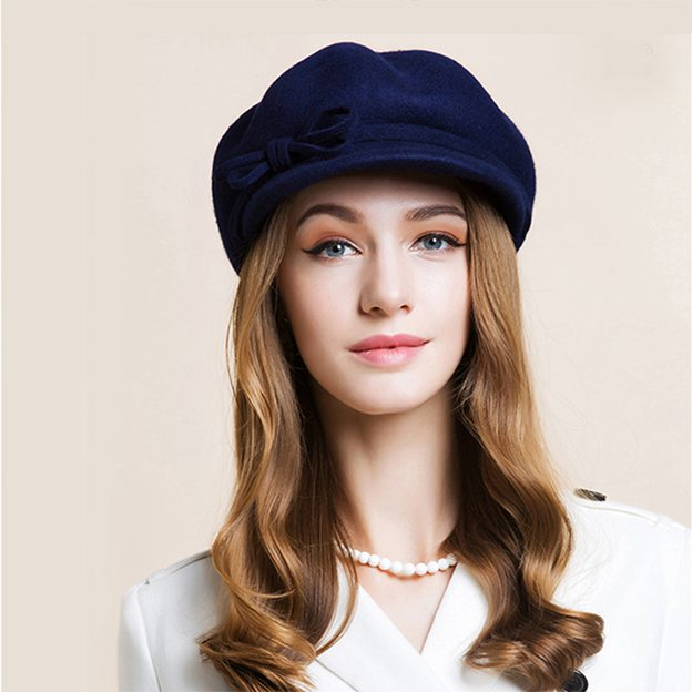 Ladies' Classic/Elegant Wool Floppy Hats With Bowknot