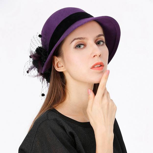 Ladies' Classic/Elegant Wool Bowler/Cloche Hats/Tea Party Hats With Flower Feather Tulle