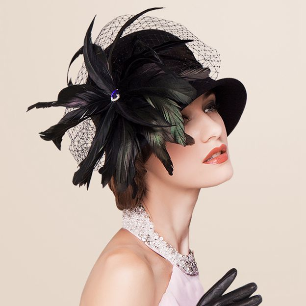 Ladies' Charming/Classic Wool Satin Bowler/Cloche Hats/Tea Party Hats With Tulle Feather
