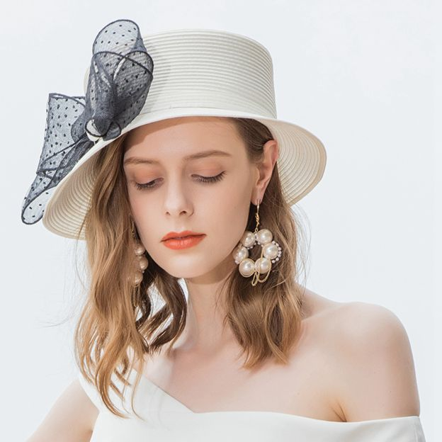 Ladies' Glamourous/Nice Pp Straw Hats/Beach/Sun Hats With Bowknot