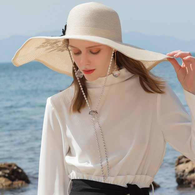 Ladies' Glamourous/Amazing Polyester Straw Hats/Beach/Sun Hats With Lace