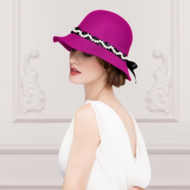 Ladies' Elegant/Eye-catching Wool Bowler/Cloche Hats/Tea Party Hats With Imitation Pearls Bowknot