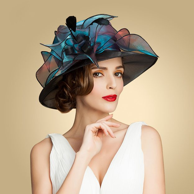 Ladies' Glamourous/Eye-catching Organza Kentucky Derby Hats With Flower Feather