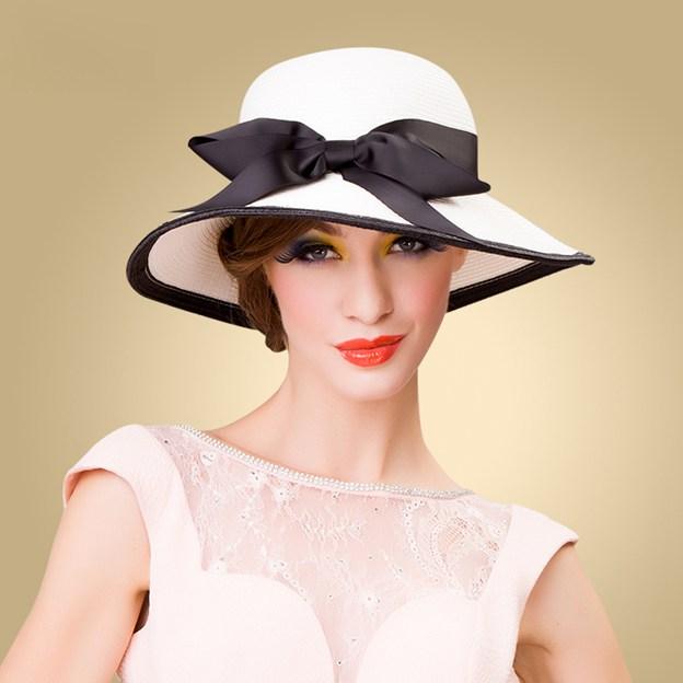 Ladies' Beautiful/Elegant Papyrus Straw Hats/Beach/Sun Hats With Bowknot