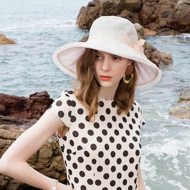 Ladies' Elegant/Romantic Organza Beach/Sun Hats/Tea Party Hats With Bowknot