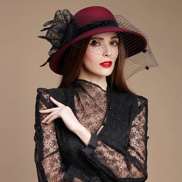 Ladies' Beautiful/Charming Wool Bowler/Cloche Hats/Tea Party Hats With Tulle Feather