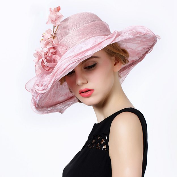 Ladies' Elegant/Beautiful Silk Cambric Floppy Hats/Kentucky Derby Hats With Flower Beading