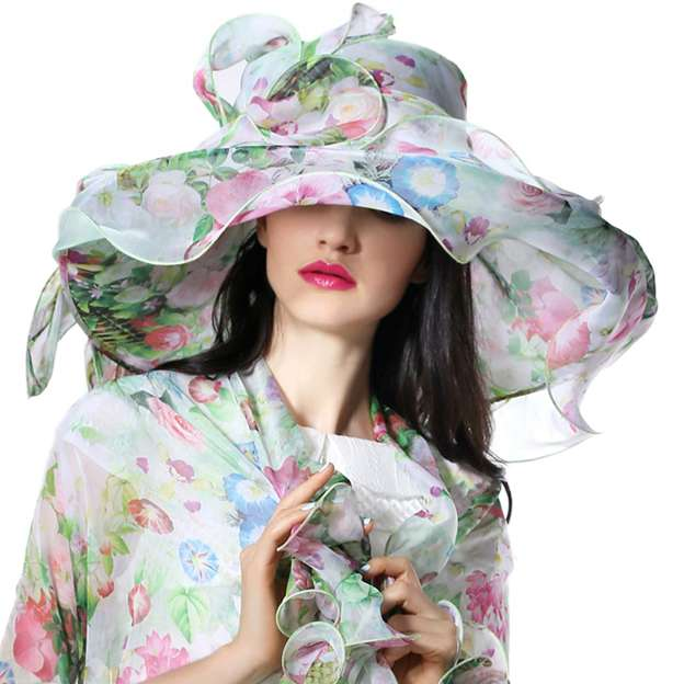 Ladies' Eye-catching/Colorful Chiffon Beach/Sun Hats/Kentucky Derby Hats With Flower Diamond