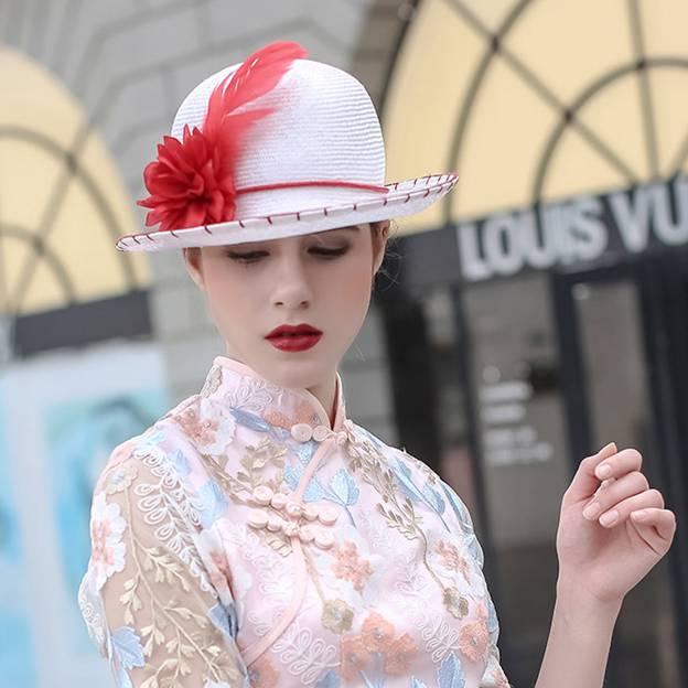 Ladies' Beautiful/Elegant Rattan Straw Straw Hats/Beach/Sun Hats With Flower Feather