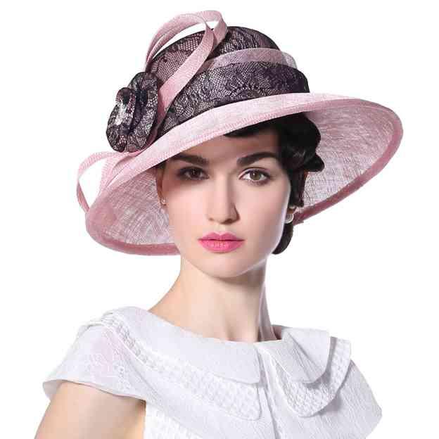Ladies' Elegant/Beautiful Linen Lace Beach/Sun Hats/Kentucky Derby Hats With Flower Diamond