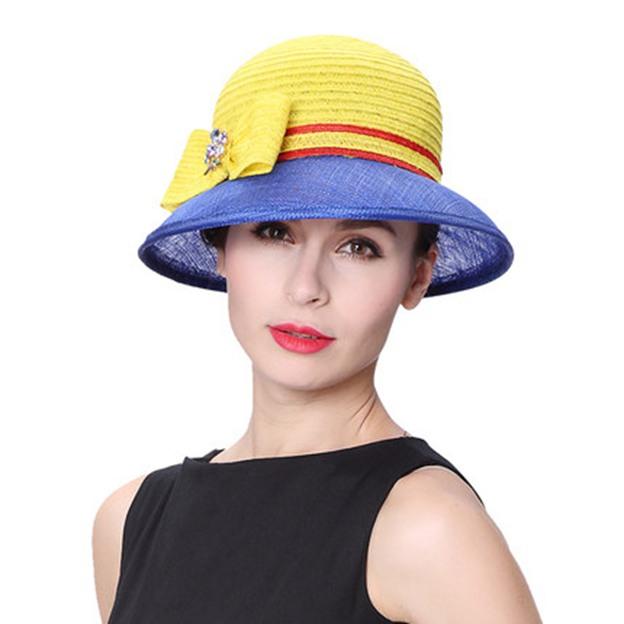 Ladies' Simple/Elegant Papyrus Linen Straw Hats/Beach/Sun Hats With Bowknot Diamond