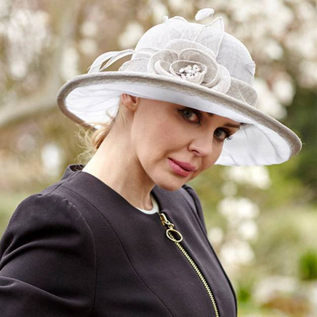 Ladies' Elegant/Beautiful Organza Linen Beach/Sun Hats/Tea Party Hats With Flower Feather Diamond