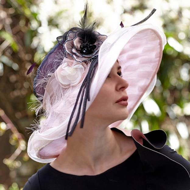 Ladies' Beautiful/Elegant Chiffon Floppy Hats/Kentucky Derby Hats With Flower Feather