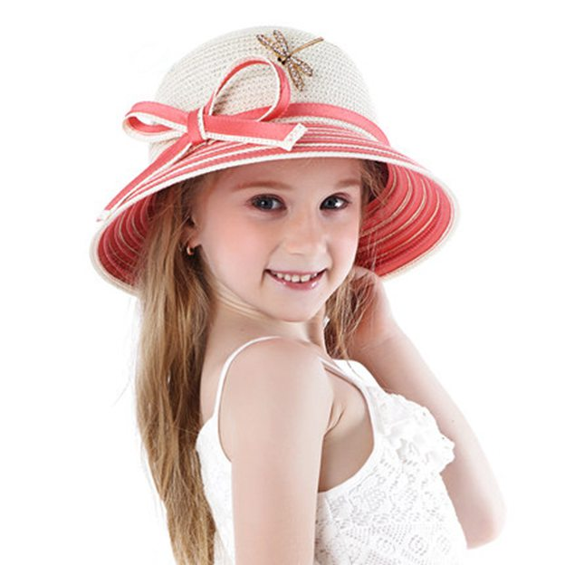 Child's Lovely/Beautiful Polyester Papyrus Straw Hats/Beach/Sun Hats With Bowknot