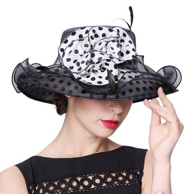 Ladies' Elegant/Beautiful Linen Chiffon Beach/Sun Hats/Kentucky Derby Hats With Flower Feather