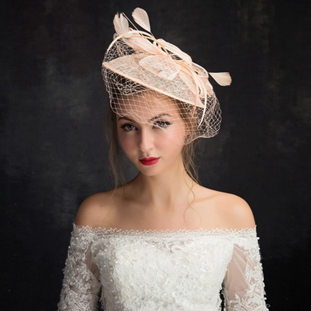 Ladies' Elegant/Beautiful Net Yarn Cambric Fascinators With Feather Flower