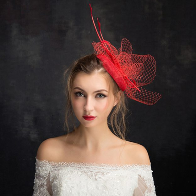 Ladies' Elegant/Beautiful Cambric Fascinators With Feather Tulle Bowknot