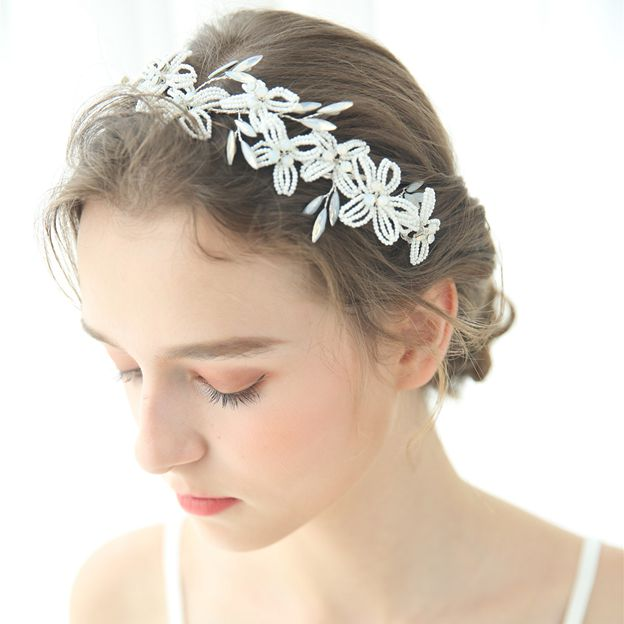 Ladies Beautiful/Elegant Beads With Flower/Crystal Tiaras