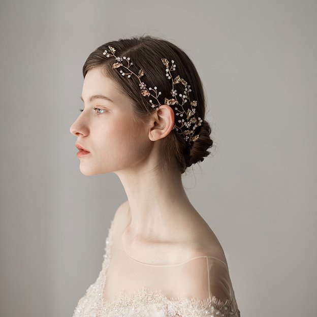 Ladies Alloy/Freshwater Pearl With Flower Venetian Pearl/Rhinestone Headbands