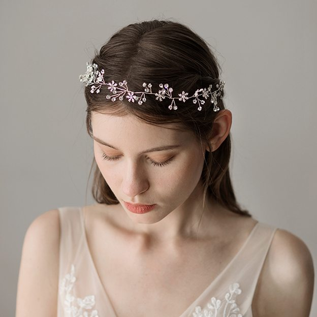 Ladies Beautiful/Elegant Plastic With Flower Rhinestone Headbands (Sold in single piece)