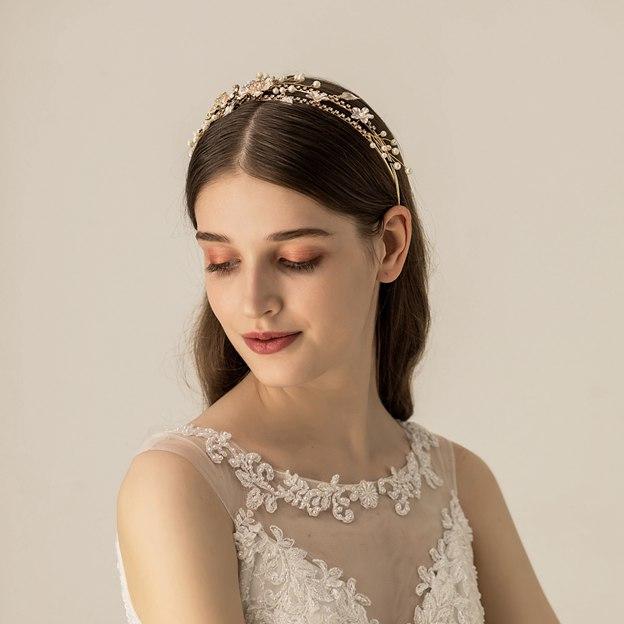 Ladies Alloy/Imitation Pearls With Flower Venetian Pearl/Rhinestone Headbands