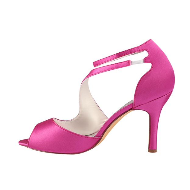 Women's Satin Heels Peep Toe Wedding Shoes