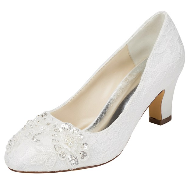 Women's Lace With Sequins Heels Pumps Close Toe Wedding Shoes
