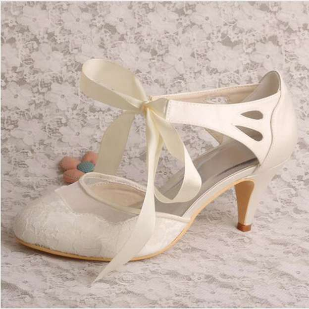 Women's Lace With Ribbon Tie Heels Pumps Close Toe Wedding Shoes