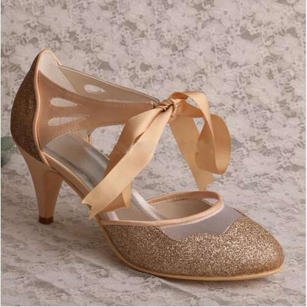 Women's Sparkling Glitter With Ribbon Tie Heels Pumps Close Toe Wedding Shoes