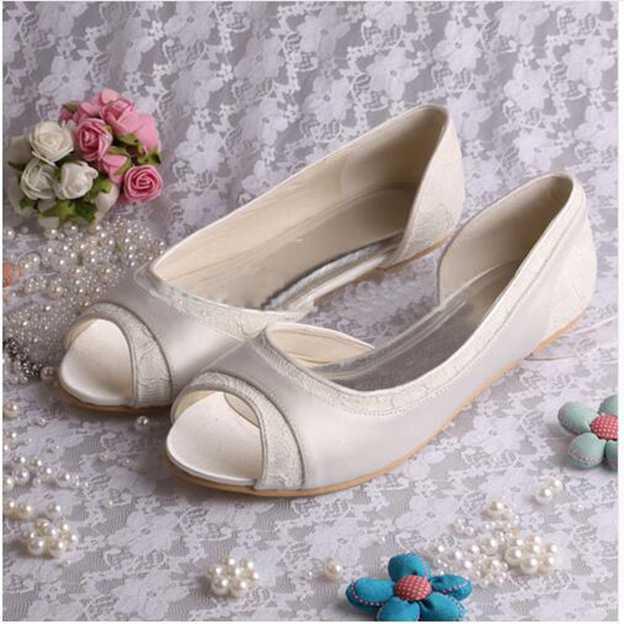 Women's Lace Satin Flats Peep Toe Wedding Shoes