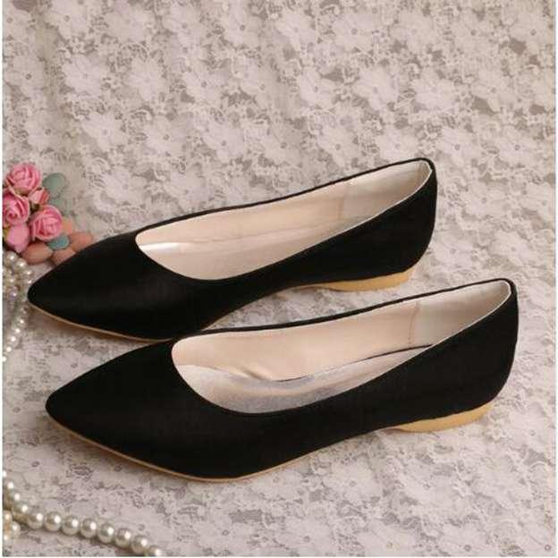 Women's Satin Close Toe Flats Wedding Shoes