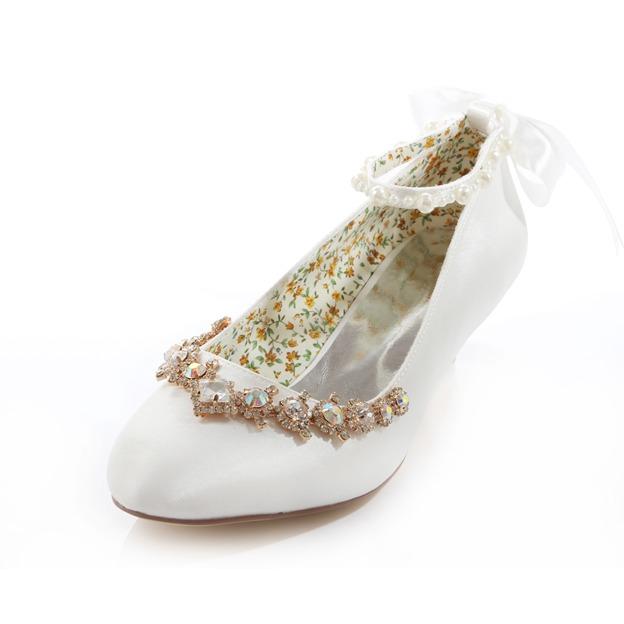 Women's Satin With Ribbon Tie/Rhinestone/Imitation Pearl Close Toe Wedding Shoes