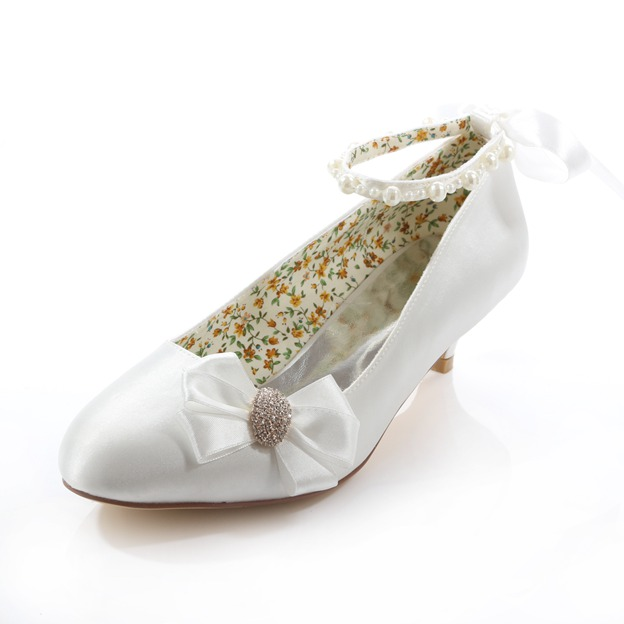 Women's Satin With Rhinestone/Imitation Pearl/Bowknot Close Toe Wedding Shoes