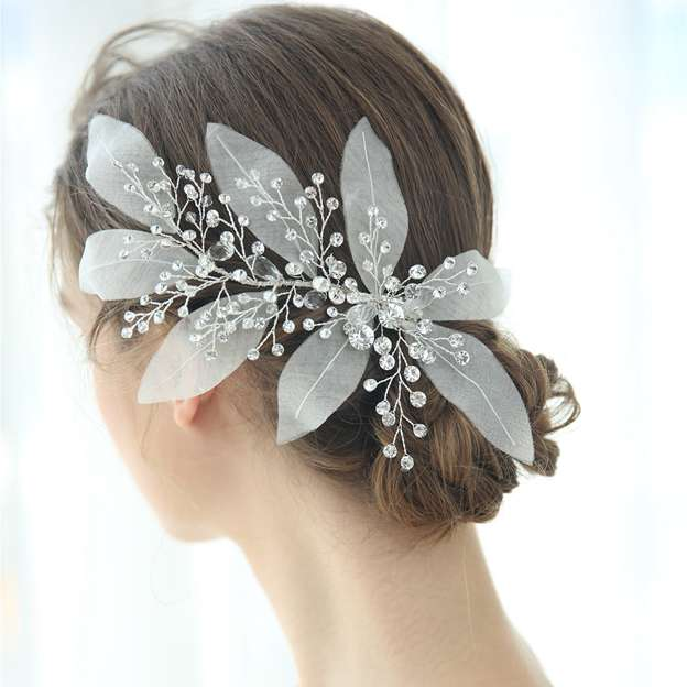 Ladies Elegant/Unique Voile With Rhinestone/Crystal Hairpins