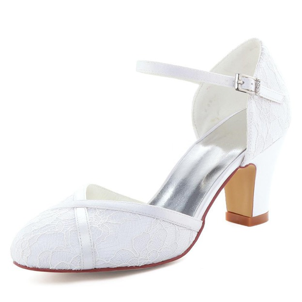 Women's Lace Satin With Buckle Close Toe Heels Wedding Shoes