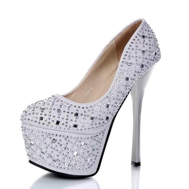 Women's Microfiber Leather With Sparkling Glitter Platform Pumps Heels Fashion Shoes