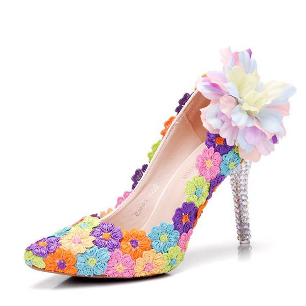 Women's PU With Rhinestone/Flowers Close Toe Heels Fashion Shoes
