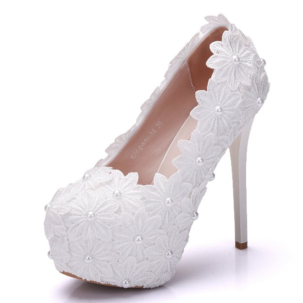 Women's PU With Lace/Imitation Pearl Close Toe Heels Wedding Shoes