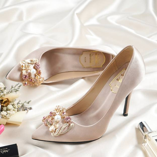 Women's Satin With Rhinestone/Imitation Pearl Close Toe Heels Fashion Shoes