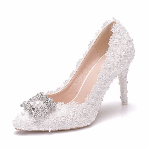 Women's Lace With Imitation Pearl/Beading/Appliqued Close Toe Heels Wedding Shoes