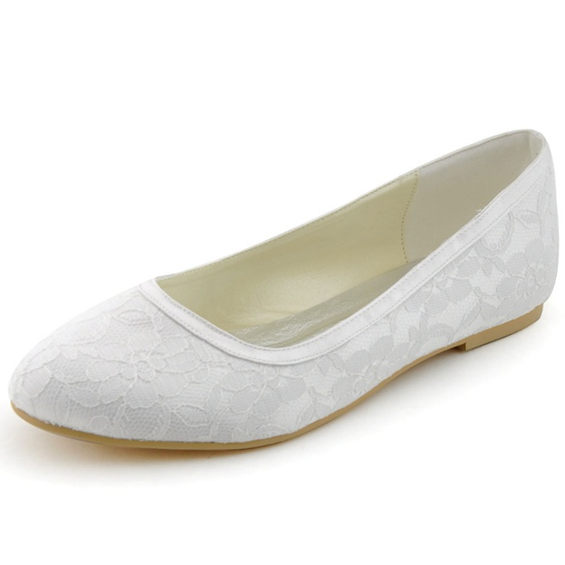 Women's Lace Satin With Lace Flats Close Toe Wedding Shoes