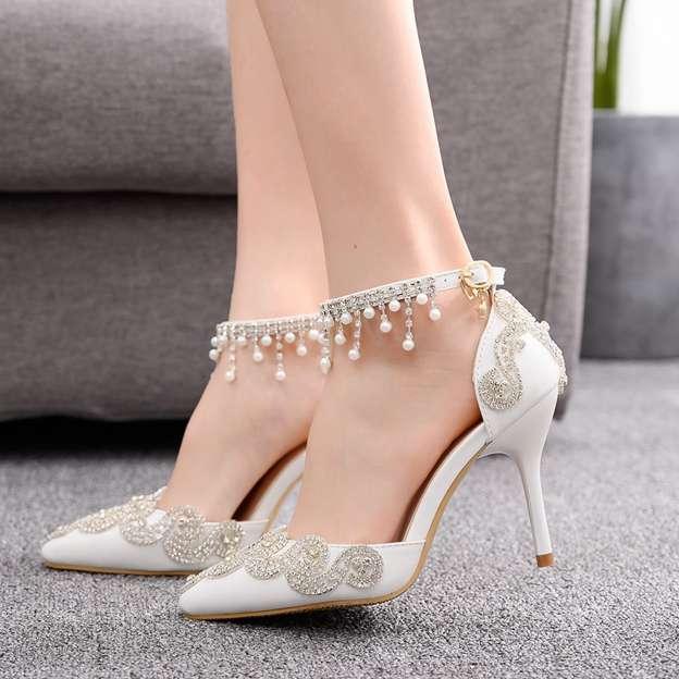 Women's PU With Rhinestone Close Toe Heels Wedding Shoes