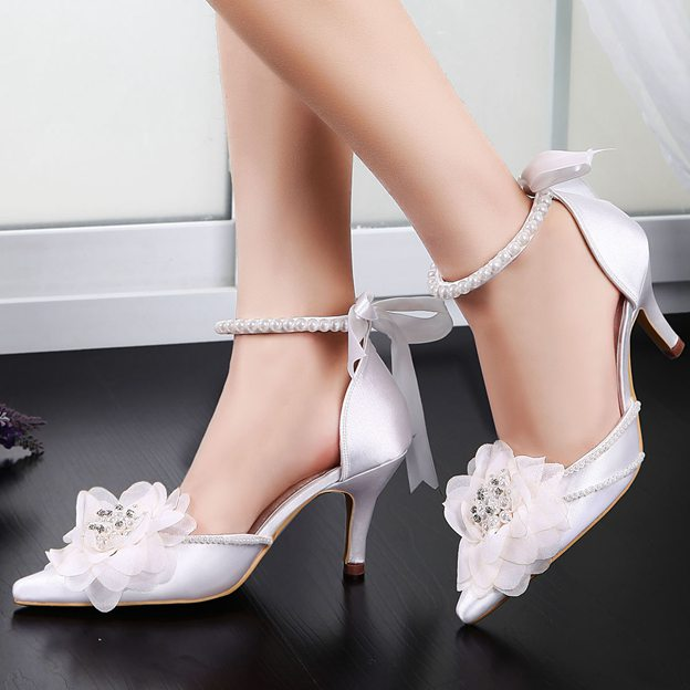 Women's Satin With Imitation Pearl/Flowers/Ankle Strap Close Toe Heels Shoes