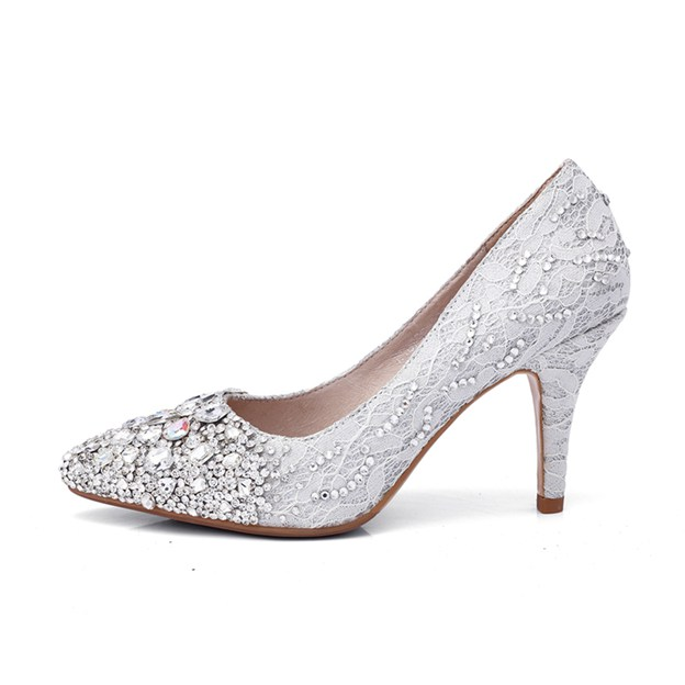 Women's Lace With Rhinestone Close Toe Heels Wedding Shoes