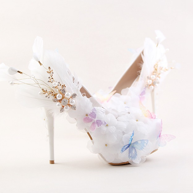 Women's PU With Imitation Pearl/Feather/Appliqued Close Toe Heels Shoes
