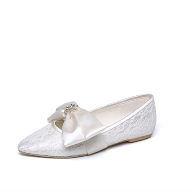 Women's Lace With Bowknot Close Toe Flats Wedding Shoes